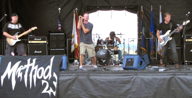 CRIPPLE CREEK, Colo. -- Method 23 band members (from left to right) Kenneth Smith, Jason Ropeter, Bruce Chouinard and Curt Kemper, compete in the Battle of the Bands final at Cripple Creek on August 18. Method 23 won the contest and a $1,000 grand prize. (courtesy photo)