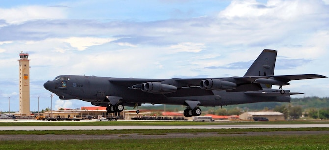 ANDERSON AIR FORCE BASE, Guam -- A B-52 Stratofortress takes off here to participate in an exercise scenario.  The aircraft, aircrew and maintenance personnel are deployed from Barksdale AFB, La., as part of the continuous bomber presence in the Pacific region. During their deployment here, the bomber squadron's participation in exercises will emphasize the U.S. bomber presence, demonstrating U.S. commitment to the Pacific region.  (U.S. Air Force photo by Senior Master Sgt. Mahmoud Rasouliyan)