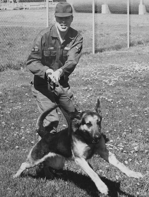FAIRCHILD AIR FORCE BASE, Wash. -- David Adams and his Sentry Dog King 12M5 shortly after his arrival from technical school in June 1968. Mr. Adams was a member of the 92nd Bomb Wing Security Police Squadron from June 1968 until September 1969, when he was sent to Korat Royal Thai Air Force Base, Thailand. (Courtesy Photo)