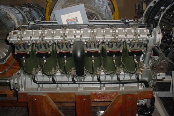 This Packard 1A-2025 engine (S/N 10) was used on the Verville-Packard R-1 racer, which won the first Pulitzer Speed Trophy on Nov. 20, 1920, with a speed of 178 mph. (U.S. Air Force photo)