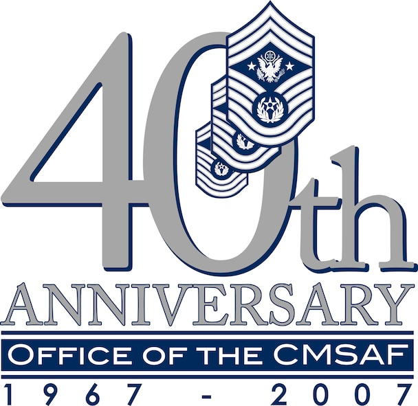 Logo designed for the 40th Anniversary of the office of the Chief Master Sergeant of the Air Force by Cyndi Smith, Maxwell Air Force Base graphics, for the Enlisted Heritage Hall. (U.S. Air Force graphic/Cyndi Smith)