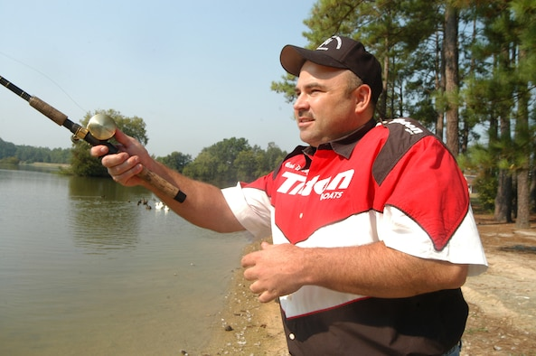 Master Sergeant Mark Denney,  the top-ranked fisherman according to the Georgia power rankings by Georgia Outdoor News Magazine, casts his line into Scout Lake recently. He will be teaching Fishing for Sucess, a free fishing seminar, Sept. 15. (U.S. Air Force photo by SUE SAPP)
