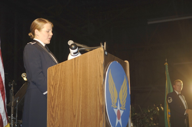 FAIRCHILD AIR FORCE BASE, Wash. – Now a captain, Jennifer Schoffstall of the 509th Weapons Squadron was an emcee for the 2006 Air Force Ball as a first lieutenant. Capt. Schoffstall is also heavily involved in the upcoming 2007 ball; as the base's Company Grade Officer committee president, she's overseeing the committee's volunteers who are creating the ball program, volunteering to meet and greet guests at the event, helping set up and clean up Hangars 2 and 4 for the ball, and more. (U.S. Air Force file photo/Senior Airman Chad Watkins)