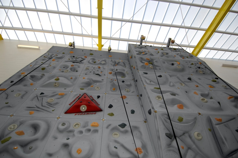 Hanscom Air Force Base, Mass. -- The new Fitness and Sports Center will feature a rock climbing wall, which will be located near the main entrance of the facility. There will be a ribbon cutting ceremony at 10:30 a.m. followed by tours of the facility from 11 a.m. to noon. The new fitness center will be open for use at noon. (U.S. Air Force photo by Mark Wyatt)
