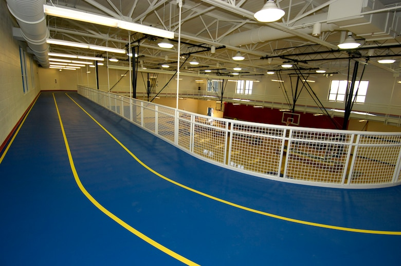 Hanscom Air Force Base, Mass. -- The new Fitness and Sports Center has an indoor running track located above the multipurpose gymnasium, which has an NCAA-sized basketball court. (U.S. Air Force photo by Mark Wyatt)