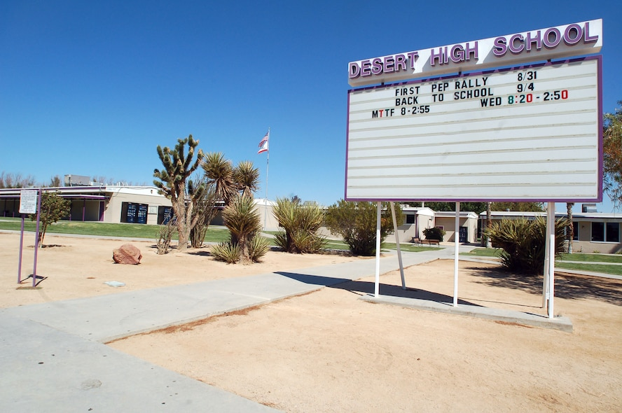 Desert High School shares a campus with Edwards Middle School here. The campus features 11 buildings. Both schools provide education to children whose parents either reside or work at Edwards Air Force Base. (Photo by Airman 1st Class Julius Delos Reyes)