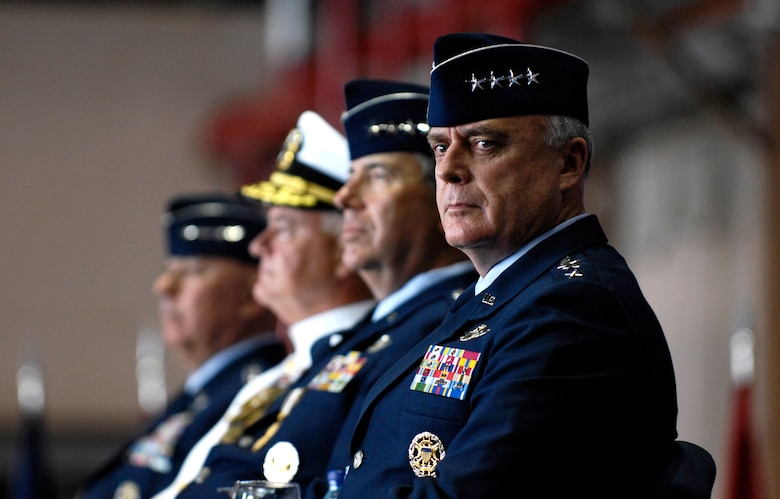 Gen. Carrol H. Chandler listens to the master of ceremonies Nov. 30 during his change of command ceremony at Hickam Air Force Base, Hawaii. Gen. T. Michael Moseley, Chief of Staff, U.S. Air Force and Adm. Timothy J. Keating, Commander U.S. Pacific Command presided over the change of command. Gen. Chandler assumed command of Pacific Air Forces from Gen. Paul V. Hester during the ceremony. (U.S. Air Force photo/Tech. Sgt. Shane A. Cuomo)