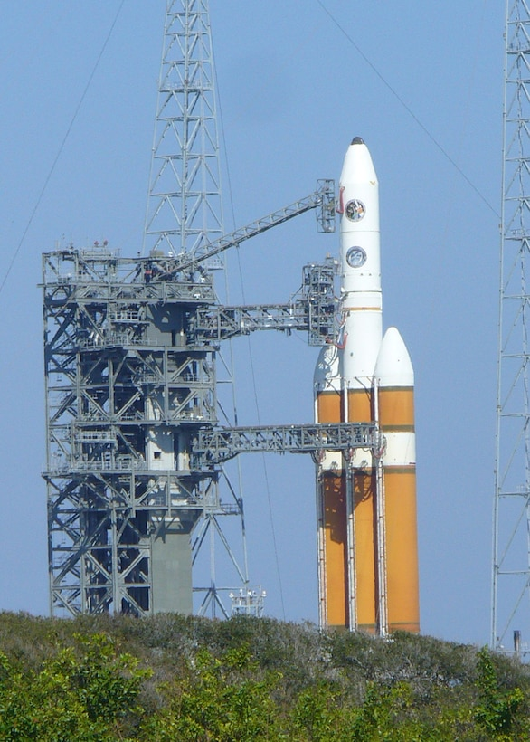 CAPE CANAVERAL, Fla. -- Defense Support Program Flight 23 sits aboard Boeing's new Delta IV Heavy Evolved Expendable Launch Vehicle. Flight 23 marked the end of a 36-year era of DSP satellites. The program will be succeeded by the Space-Based Infrared System program.