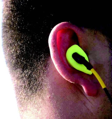 The Attenuating Custom Communications Earpiece System (ACCES®) is constructed from silicone (photo courtesy of US Air Force Senior Airman DeLicha E. Germany).