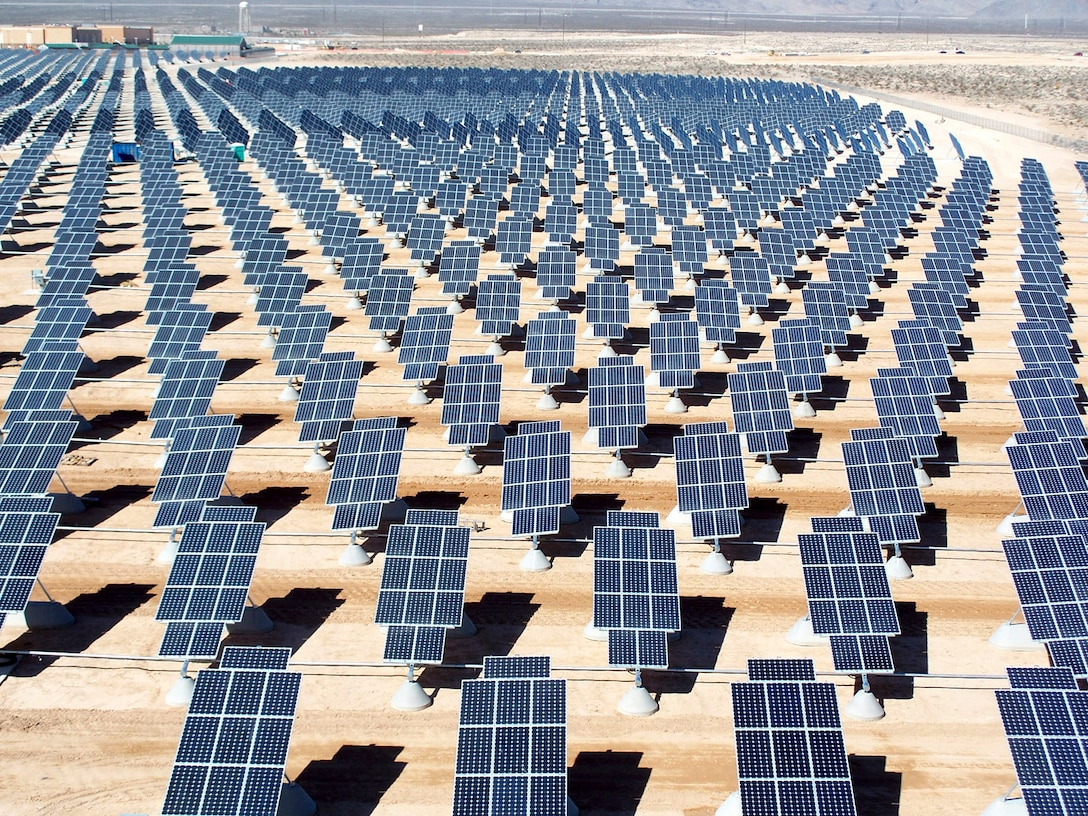 On 140 acres of unused land, 70,000 solar panels await activation as the first third of the solar photovoltaic array gets commissioned Oct. 12 with the other 66 percent of the panels scheduled for activation in the next two months at Nellis Air Force Base, Nev. Base officials and SunPower Corp. finalized a commission of 15 megawatts in solar power that can save Nellis AFB $1 million annually. (U.S. Air Force photo/Airman 1st Class Nadine Y. Barclay)
