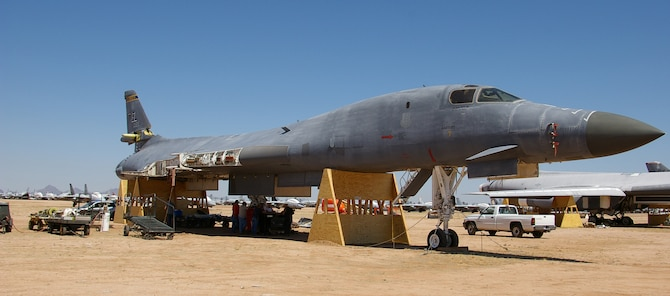 A B-1B Lancer which caught fire on Andersen September 2005 had its wing, nacelle and landing gear parts removed for repair. The aircraft will then be returned to fully mission capable status and ready for combat in summer of 2008. (Courtesy photo)