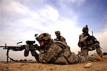 U.S. Army soldiers from the 101st Airborne Division, 187th Infantry Regiment, secure their sector during a patrol through Al Betra, Iraq, Nov. 16, 2007.