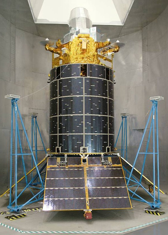 Shown here is a replica of a Defense Support Program satellite. The satellite costs more than $400 million, orbits at an altitude of over 22,000 miles, weighs more than 5,000 pounds and is roughly the size of a bus. Flight 23 marked the end of a 36-year era of DSP satellites. The program will be succeeded by the Space-Based Infrared System program.