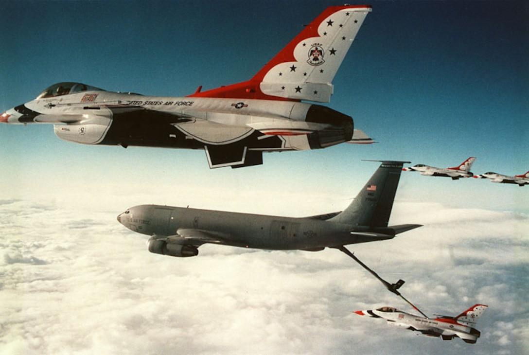 Refueling a Thunderbird F-16 in mid air.