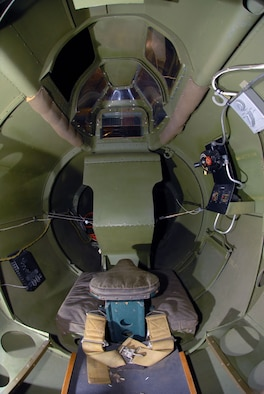 """DAYTON, Ohio -- Rear gunner position in the Boeing B-17G """"Shoo Shoo Shoo Baby"""" at the National Museum of the United States Air Force. (U.S. Air Force photo)"""