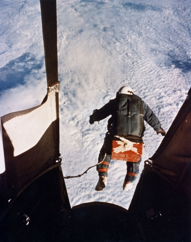 An automatic camera captured Capt. (later Col.) Joseph Kittinger just as he stepped from the balloon-supported Excelsior Gondola on Aug. 16, 1960, at an altitude of 102,800 feet. (U.S. Air Force photo)