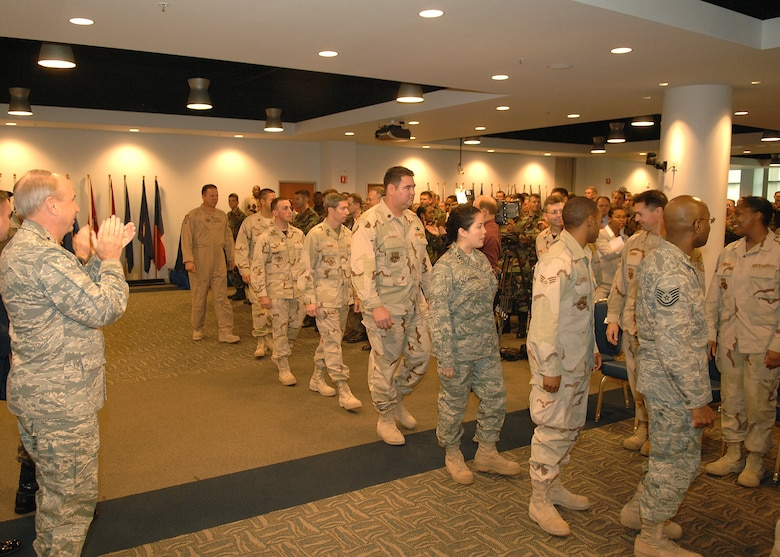 Recently deployed personnel were honored at a Welcome Home Ceremony, Dec. 6. During the past year, base personnel deployed to diverse locations including Iraq; Kyrgyzstan; Afghanistan; United Arab Emirates; Djibouti Horn of Africa; Pakistan; Qatar; Kuwait; Germany; and Fort Hood, Texas. Their deployments lasted from 120 to 365 days.  (Photo by Stephen Schester)