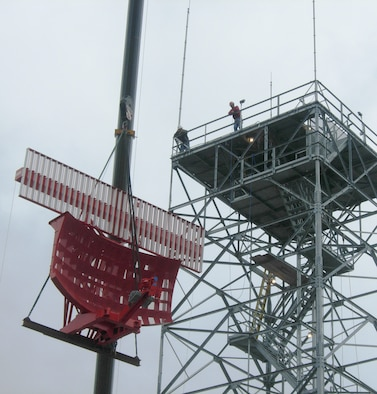 """The 10,000-pound Digital Surveillance Radar Antenna, referred to as a """"sail"""" by radar technicians, is located at the east end of taxiway B and will replace the aging analog radar system."""
