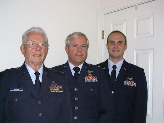Retired majors David Morgan Jr., and Pat Morgan and Maj. David Morgan line up in their service dress uniform. All three generations of the Morgan family have flown the C-130 Hercules. Courtesy photo