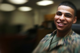 U.S. MARINE CORPS BASE, CAMP H.M. SMITH, Hawaii -- Lance Cpl. Patrick Bennett may not have a past worht smiling about, but in the present it is rare for anyone to catch this young Marine with out a smile and a eager attitude.