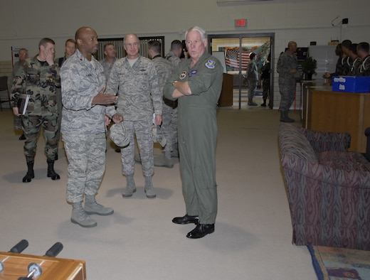 Chaplain (Maj.) Jimmie Sanders, 82nd Training Wing Chapel, shows Gen. William R. Looney III, Air Education and Training Commander, the Solid Rock Cafe during the general's visit to Sheppard Nov. 29-30. (U.S. Air Force photo/Mike Litteken)