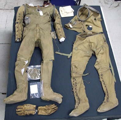 This experimental high-altitude flight suit was manufactured by the Pioneer Product Division, General Electric Co., Bridgeport, Conn. (U.S. Air Force photo)