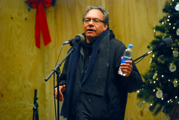 Comedian Lewis Black performs for military men and women as part of a USO show at Camp Phoenix, Kabul, Afghanistan, Dec. 20. Photo by Marine Staff Sgt. Luis P. Valdespino Jr.