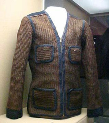 The donor of this sweater, a B-17 tail gunner, was shot down in October 1944 during a raid to Cologne. He was sent to a prisoner of war camp as the Russians advanced through Poland and East Prussia. He knitted this sweater while imprisoned at Stalag Luft I. (U.S. Air Force photo)