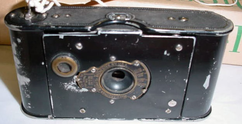 "This camera was used by Lt. Robert Rutherford Nelson, an American who enlisted in the Royal Flying Corps during World War I. Lt. Nelson only began flight school in January 1918, so neither he nor his ""Salamander"" unit saw combat. (U.S. Air Force photo)"