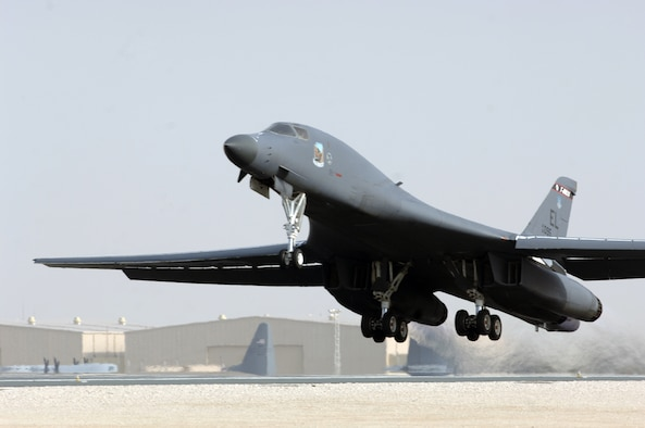 SOUTHWEST ASIA – An Air Force B-1B Lancer takes off from a base in Southwest Asia to support Operations Enduring and Iraqi Freedom.  The B-1B has the capability to carry a wide range of both guided and unguided weapons and can rapidly deliver massive quantities of precision and non-precision weapons against specific targets.  (U.S. Air Force Photo, Released)