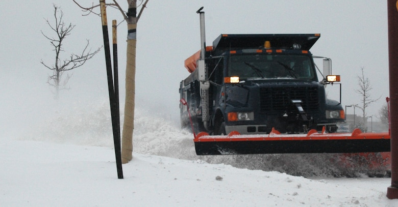 The 460th Civil Engineer Squadron mobilized 10 snowplows to clear 35 miles of roads on Buckley Air Force Base during a snowstorm Dec. 27. (U.S. Air Force photo by Capt. Adrianne Michele)