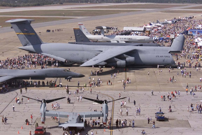 The crowds gather around a C-5 Galaxy during the 2004 Open House and Air Show.
