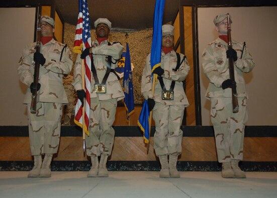 02/02/2007--SOUTHWEST ASIA -- Misawa Airmen volunteer as honor guard members at a forward operating location. (U.S. Air Force)