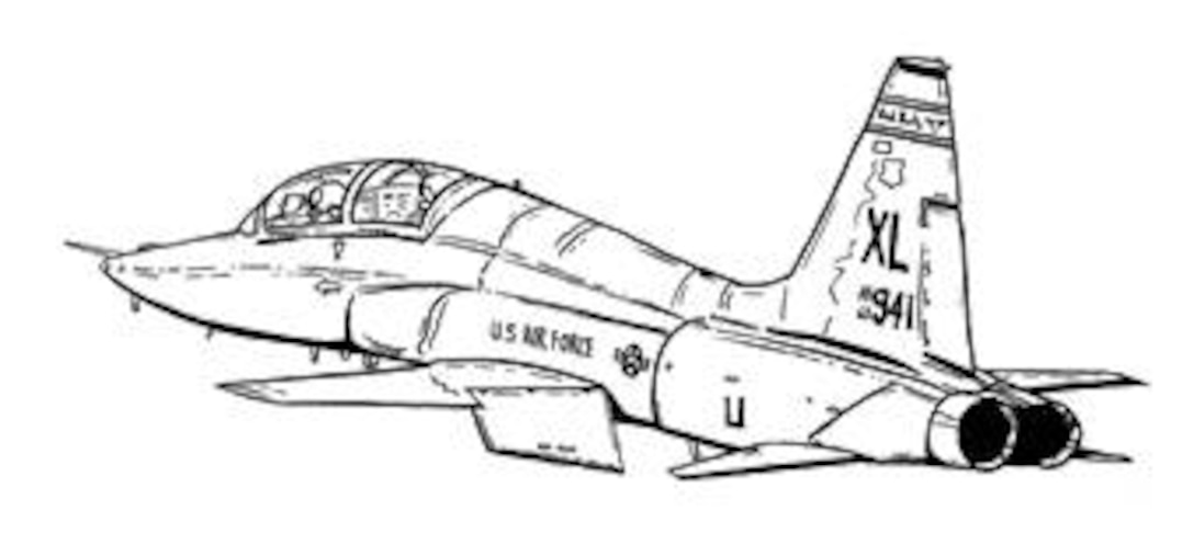 Black And White Line Drawing Of T 38C Talon From Laughlin Air Force Base,