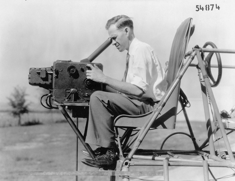 A variant of the Sperry bombsight undergoing evaluation by the Engineering Division in 1936. This photograph shows how a bombardier would operate it. (U.S. Air Force photo)