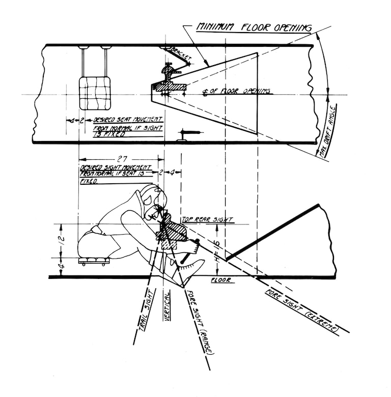 Illustration from a manual showing how the bombardier operated the D-1 bombsight. (U.S. Air Force photo)