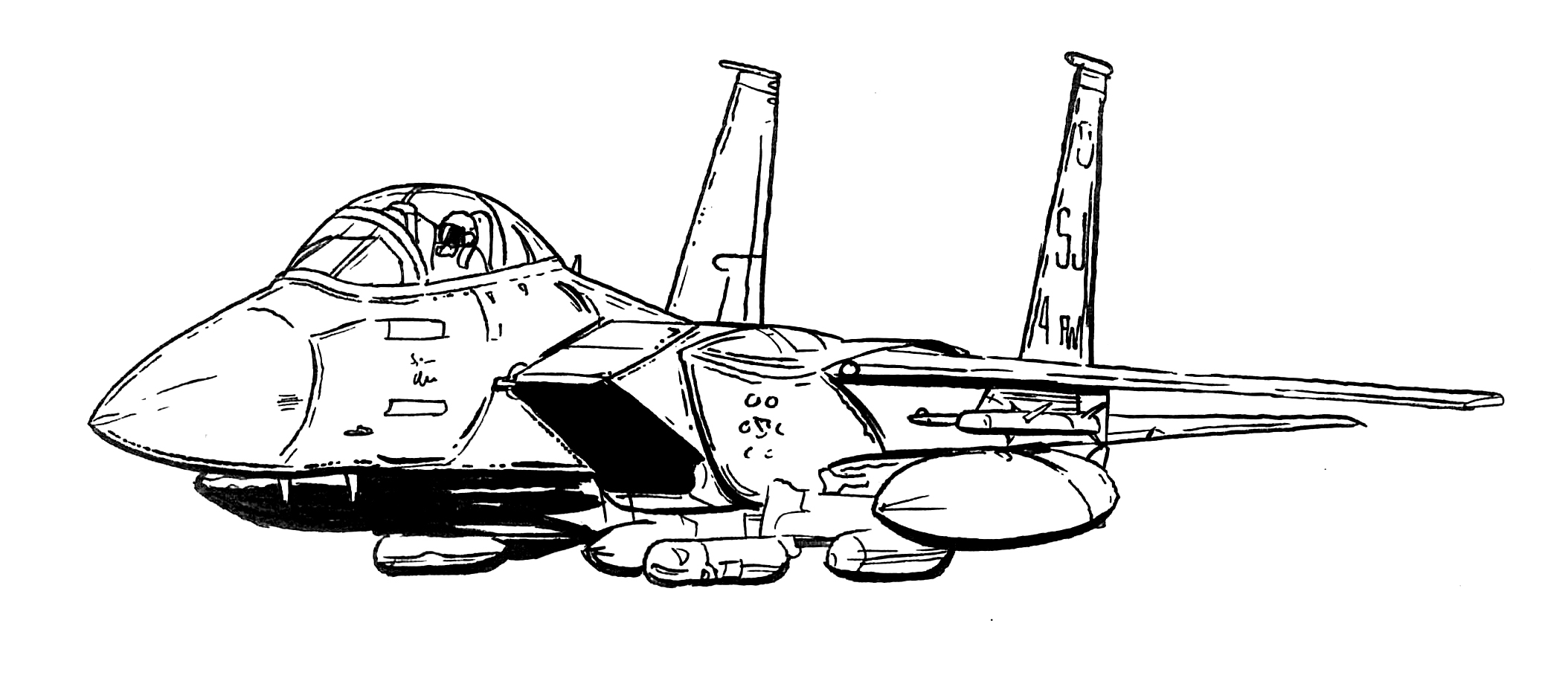 Black And White Line Drawing Of F 15E Strike Eagle From Seymour Johnson Air  Force