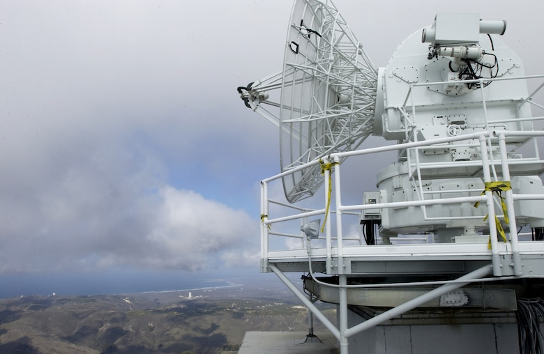 The FPS-16 radar sits atop Tranquillon Peak overlooking all of Vandenberg, including Space Launch Complex-6, and the shoreline.  Tranquillon Peak's elevation of 2,126 feet is the highest point on Vandenberg AFB. The radar provides data and range safety for missile launches. This radar, along with its data system, will be tracking the upcoming Feb. 7 Minuteman III launch.  (U.S. Air Force photo by Airman 1st Class Ashley Tyler)
