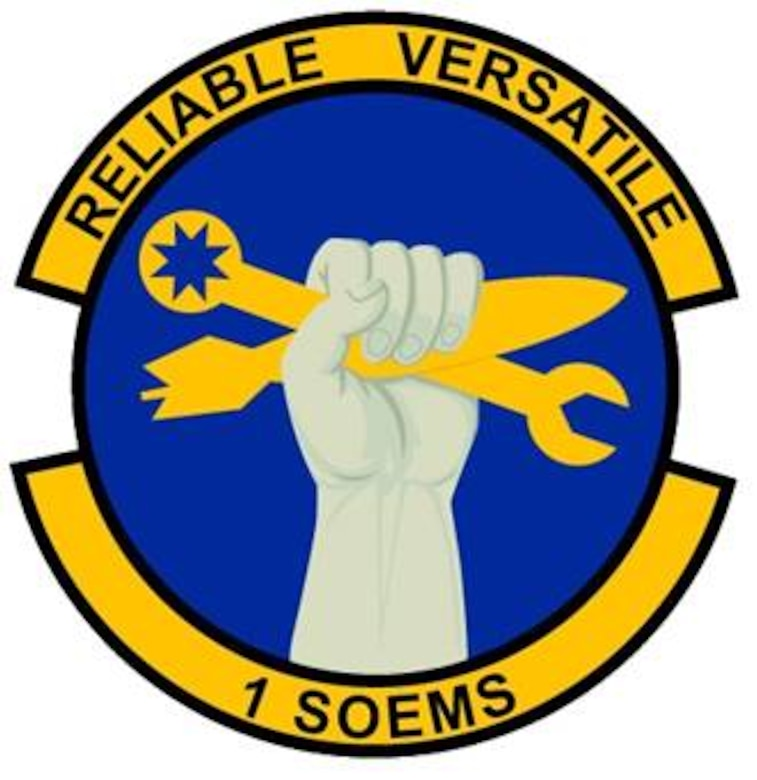 Blue and yellow are the Air Force colors.  Blue alludes to the sky, the primary theater of Air Force operations.  Yellow refers to the sun and the excellence required of Air Force personnel.  The gray fist of iron depicts the strength of the unit to perform its worldwide maintenance functions in all conditions.  The wrench and munitions symbolize the expertise of squadron personnel in maintaining equipment.