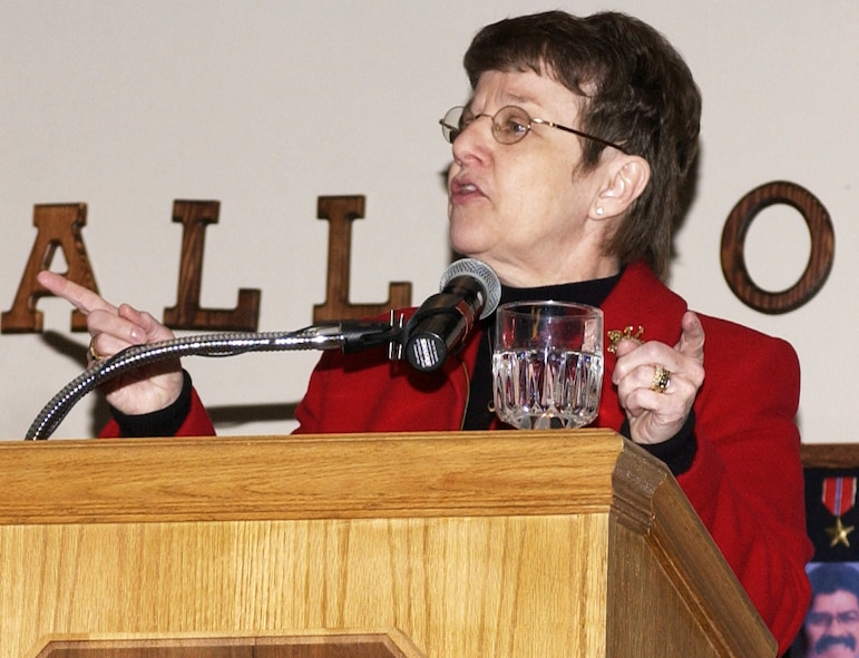 """Retired Chaplain (Maj. Gen.) Lorraine Potter, the first female chaplain and female chief of chaplains in the Air Force, addressed more than 150 attendees at the annual Prayer Breakfast at Cannon Air Force Base, NM Feb. 2. Mrs. Potter reminded Airmen and civilians at the breakfast that each was unique and """"essential to fulfilling the mission of the wing."""" (Air Force photo/Greg Allen)"""
