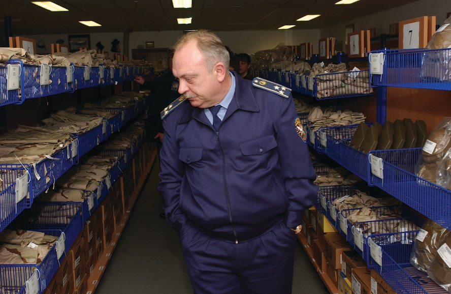 Col. Volodymyr Voldov, Ukrainian armed forces logistics officer, tours the 52nd Logistics Readiness Squadron supply warehouse. (US Air Force photo by Airman 1st Class Stephanie Sawyer)