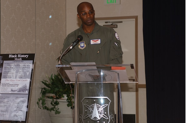 Capt. Rod Smith, 576th Flight Test Squadron, delivers an opening speech during a Black History month ceremony at Vandenberg Air Force Base, California on February 1.  The ceremony was to honor those of black heritage in our armed services and around the world for their important and respectable roles in today's society.  (Air Force Photo by Amn Adam Guy)