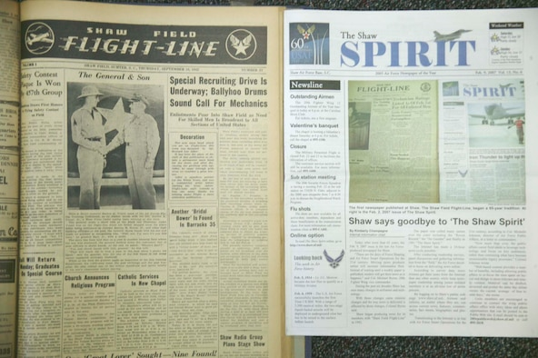 "SHAW AIR FORCE BASE, S.C. -- The first newspaper published at Shaw, ""The Shaw Field Flight-Line,"" began a 65-year tradition. At right is the last issue of ""The Shaw Spirit."" (U.S. Air Force photo/Senior Airman Holly MacDonald)"