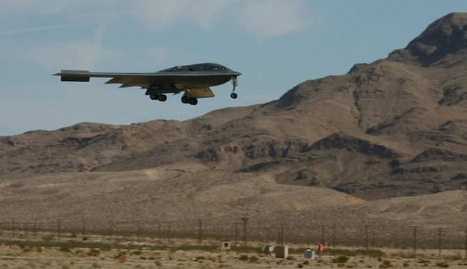 An B-2 Spirit bomber lands at Nellis Air Force Base, Nev., after a Red Flag mission Feb. 12, 2007. All three of the Air Force's stealth aircraft models -- the B-2, F-117 and F-22 -- are taking part in Red Flag, which sharpens aircrews' war-fighting skills in realistic combat situations. Crews are flying missions during the day and night to the nearby Nevada Test and Training Range where they take part in highly realistic aerial combat. The U.S. Air Force and Navy, along with Australia and the United Kingdom, are participating in February's Red Flag.  (U.S. Air Force photo/Mike Estrada)
