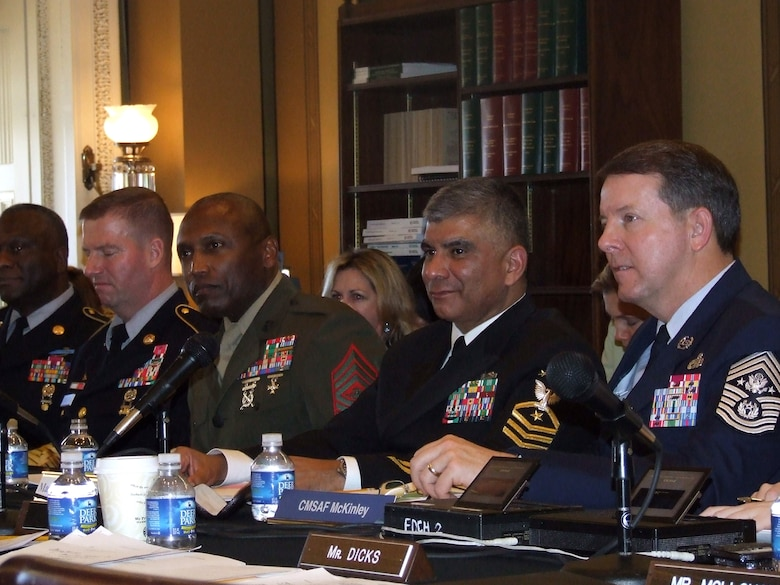 Chief Master Sgt. of the Air Force Rodney J. McKinley, far right, testifies with other Armed Forces senior enlisted leaders before the House Appropriations Committee, Military Quality of Life and Veterans' Affairs Subcommittee Feb. 9 in Washington, D.C. As the Air Force's senior enlisted leader, Chief McKinley addressed quality of life, global combat and Air Force readiness issues with the subcommittee. (U.S. Air Force photo/Chief Master Sgt. Darla Ernst)