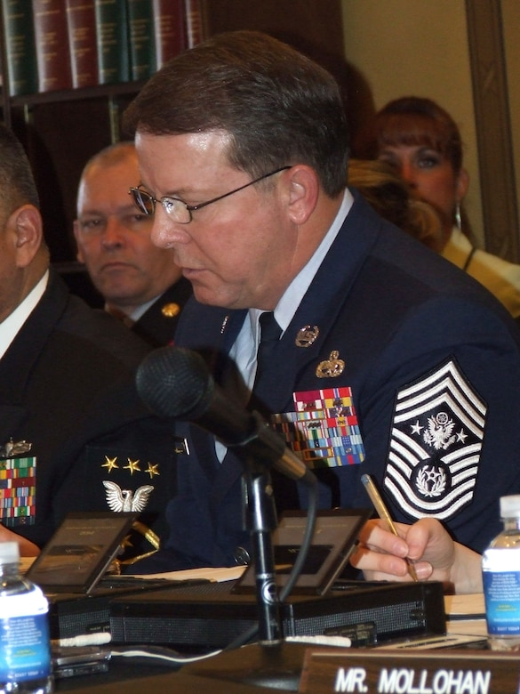 Chief Master Sgt. of the Air Force Rodney J. McKinley testifies before the House Appropriations Committee, Military Quality of Life and Veterans' Affairs Subcommittee Feb. 9 in Washington, D.C. As the Air Force's senior enlisted leader, Chief McKinley addressed quality of life, global combat and Air Force readiness issues with the subcommittee. (U.S. Air Force photo/Chief Master Sgt. Darla Ernst)