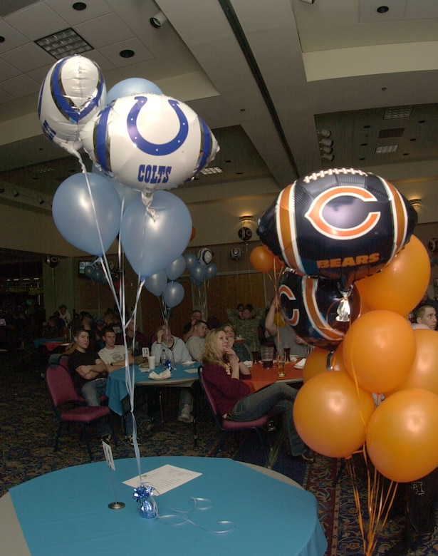 Balloons and sports memorabilia bearing the logos of the Chicago Bears and the Indianapolis Colts were used as decorations through out the Events Center during the Super Bowl party. (U.S. Air Force photo by Airman 1st Class Luis Loza Gutierrez.)