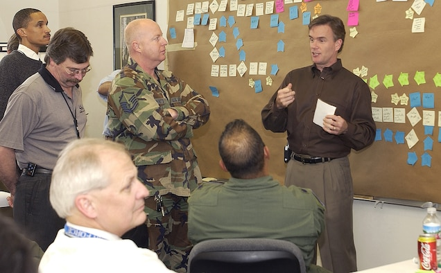 David Ballard, facilitator of the Air Force Smart Operations for the 21st Century, team 1, discusses with contractors, civilians, and military personnel the values and necessity of each missile launch on Jan. 30 at Vandenberg.  AFSO21 was separated into three teams according to Vandenberg's mission concerning the 2nd Range Operations Squadron here.  All the teams worked together to process a more efficient and less expensive launch. (U.S. Air Force photo by Airman 1st Class Ashley Tyler)