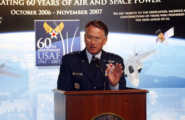 """Lt. Gen. John A. Bradley speaks to the """"Heritage to Horizons"""" theme kick off ceremony audience Feb. 12 in Atlanta. General Bradley is the chief of Air Force Reserve.The Air Force Reserve Command is the host command for the 60th Air Force Anniversary celebration in Atlanta. (U.S. Air Force photo/Don Peek)"""