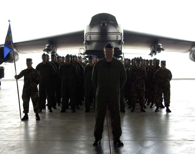 Airmen assigned to the 36th Operations Group stand in formation during the unit's reactivation ceremony at Andersen Air Force Base, Guam, Feb. 12. Six B-52 Stratofortress bombers from the 2nd Bomb Wing at Barksdale AFB, La., are deployed there to provide a continuous bomber presence in the Asia-Pacific region. (U.S. Air Force photo/Senior Airman Miranda Moorer)